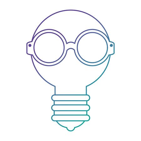 bulb light with glasses vector illustration design
