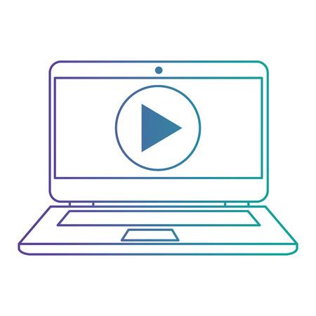 laptop con progettazione di illustrazione vettoriale pulsante lettore multimediale