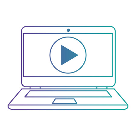 laptop with media player button vector illustration design