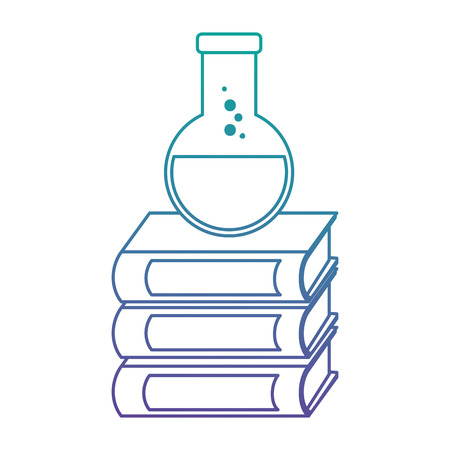 pile text books with tube test vector illustration design