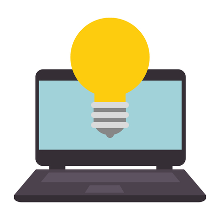 laptop with bulb light vector illustration design Ilustrace