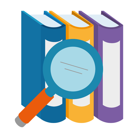 pile text books with magnifying glass vector illustration design