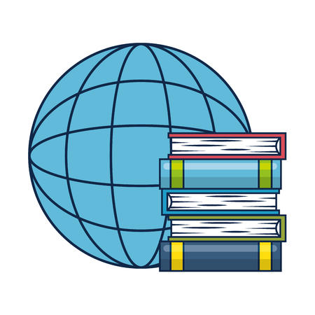 pile text books with planet vector illustration design