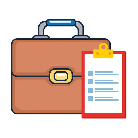 portfolio briefcase with checklist vector illustration design
