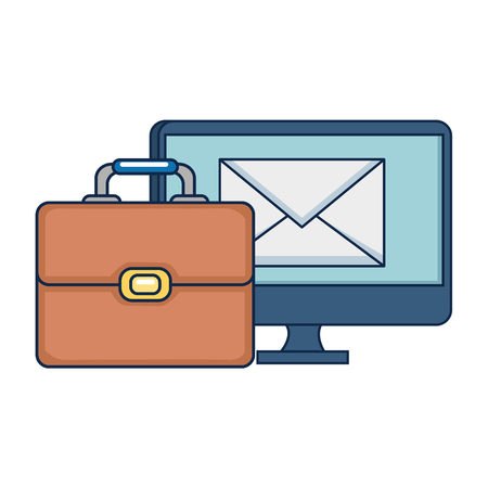 portfolio briefcase with computer and email vector illustration design