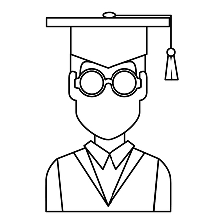 student graduation with uniform vector illustration design