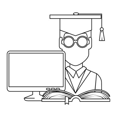 Graduación de estudiantes con computadora y diseño de ilustraciones vectoriales de libros Ilustración de vector