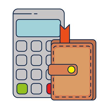 calculator math with wallet vector illustration design