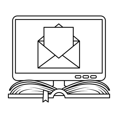 text book with computer and email vector illustration design