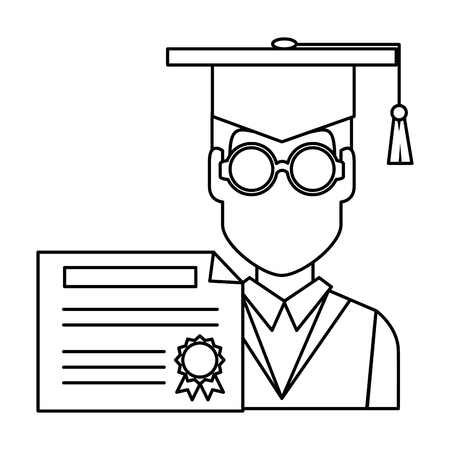 student graduation with diploma vector illustration design