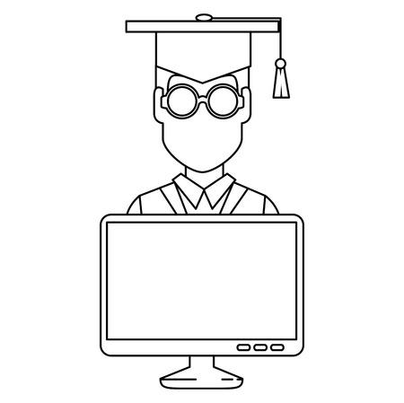 Studentenabschluss mit Computer-Vektor-Illustration-Design
