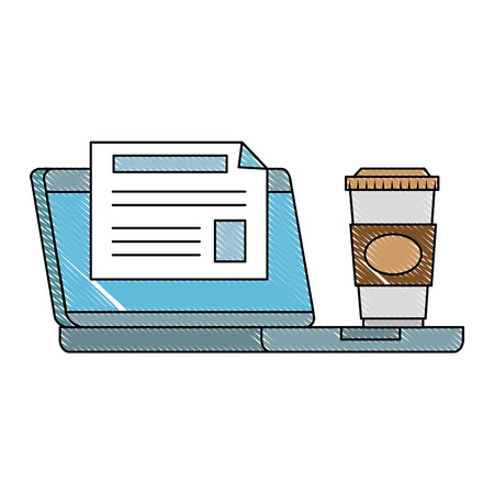 computer laptop with diploma and coffee vector illustration design
