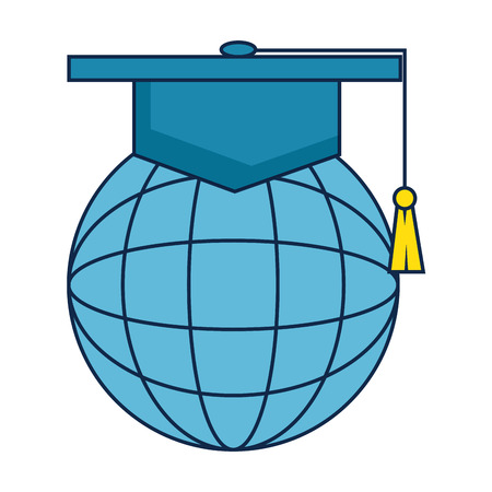 sphere planet with hat graduation vector illustration design