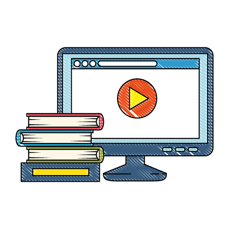 pile text books with computer vector illustration design