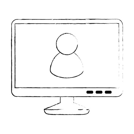 monitor computer with user avatar vector illustration design