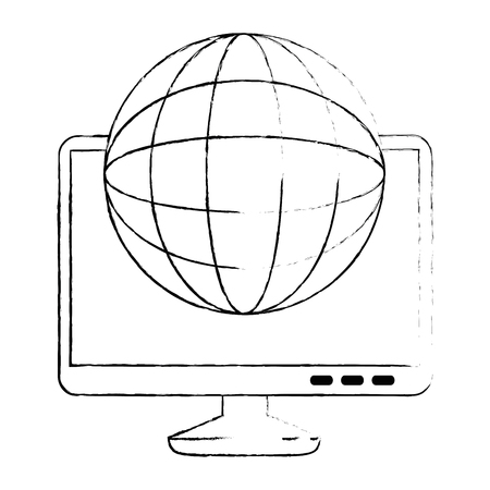 monitor computer with planet vector illustration design
