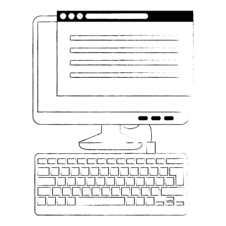 computer desktop with webpage template vector illustration design