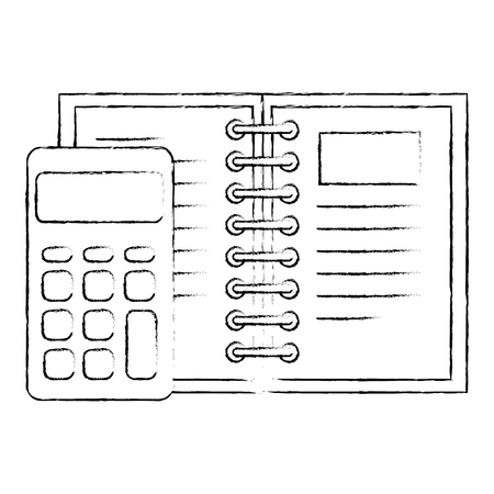 calculator math with note book vector illustration design