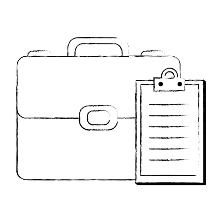 portfolio briefcase with checklist vector illustration design
