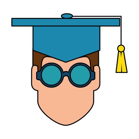 student graduation head with hat vector illustration design Stock Vector - 110154989