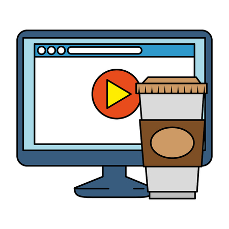 monitor computer with webpage and coffee vector illustration design