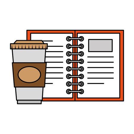 notebook school with coffee vector illustration design