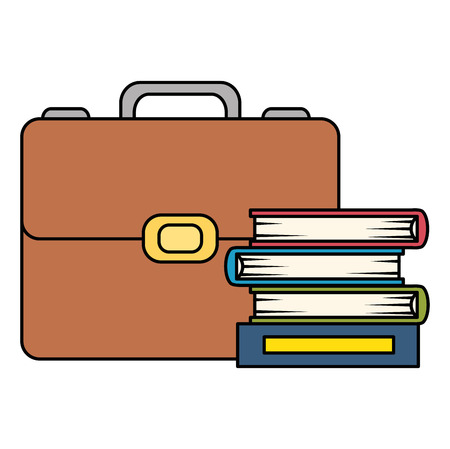 pile text books with portfolio vector illustration design