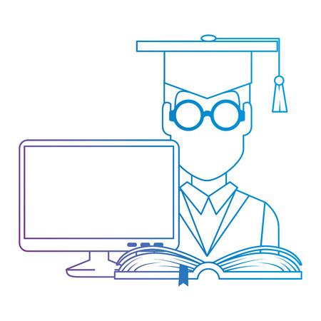 student graduation with computer and book vector illustration design Ilustracje wektorowe