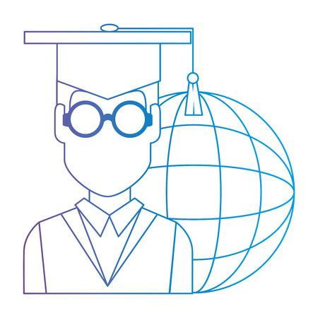 student graduation with planet vector illustration design