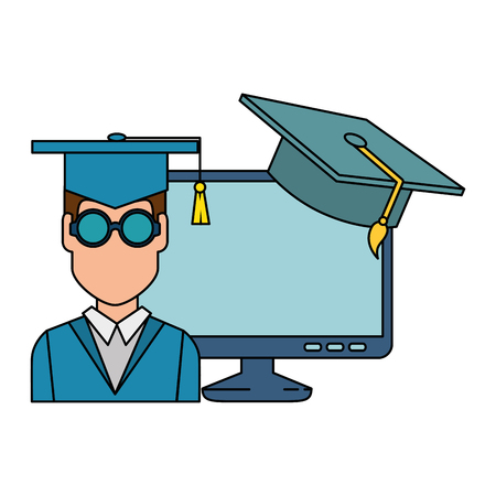 student graduation with computer and hat vector illustration design