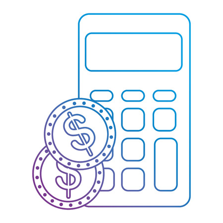 calculator math with coins vector illustration design