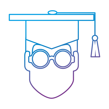 student graduation head with hat vector illustration design