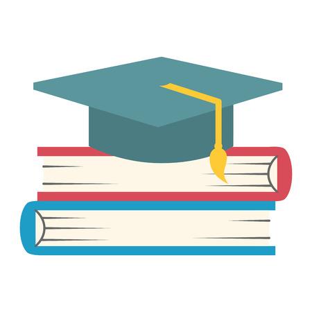 pile text books with hat graduation vector illustration design