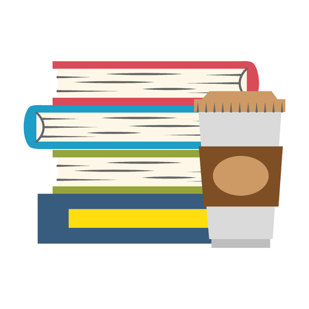 pile text books with coffee drink vector illustration design