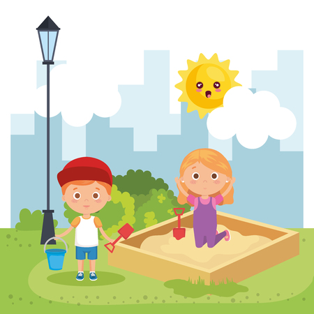 little kids couple playing on the park vector illustration design