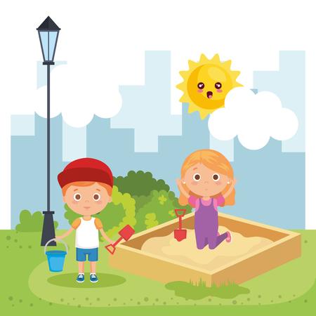 little kids couple playing on the park vector illustration design Reklamní fotografie - 108050660