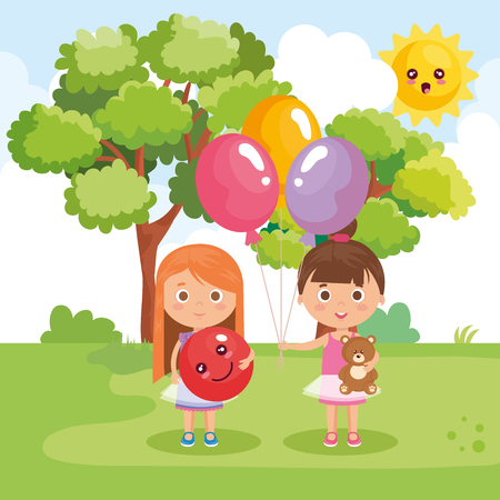 little girls playing on the park vector illustration design