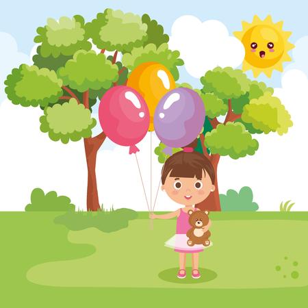 little girl playing on the park vector illustration design