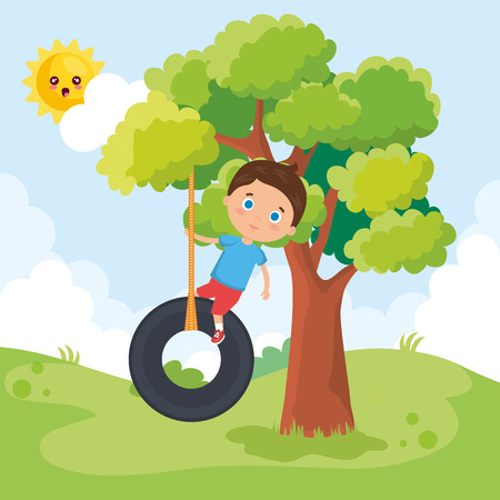 little boy playing on the park vector illustration design