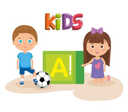 Pareja de niños pequeños jugando con diseño de ilustración de vector de bloque