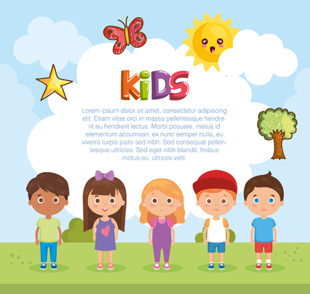 little kids group playing on the park vector illustration design Stock fotó - 110155140