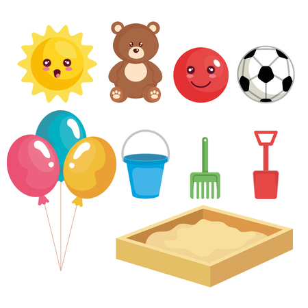 group of toys set collection vector illustration design