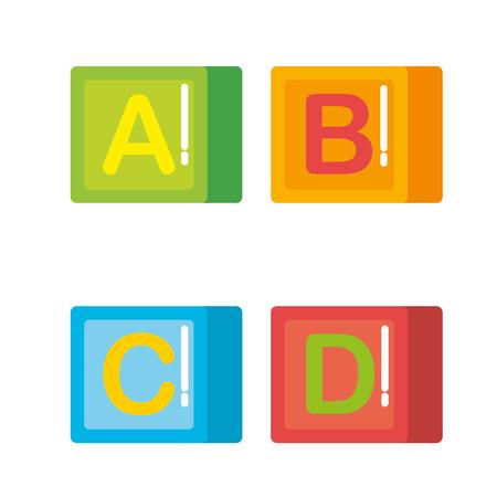blocchi con alfabeto giocattoli illustrazione vettoriale design Vettoriali