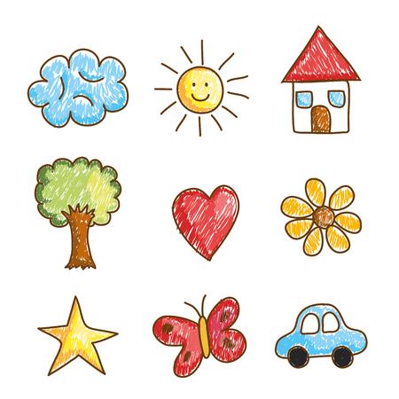 landscape doodle drawing set icons vector illustration design Standard-Bild - 108044449