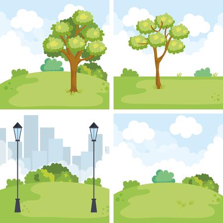 park landscape set scenes vector illustration design
