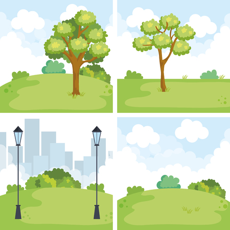 park landscape set scenes vector illustration design