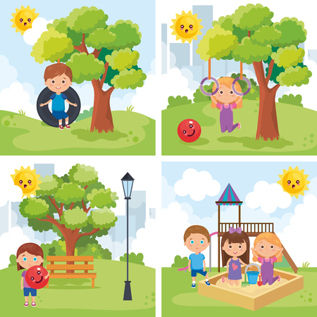 little kids group playing on the park vector illustration design