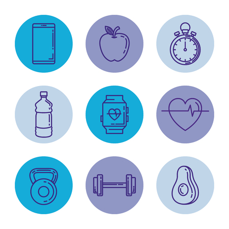 healthy and fitness lifestyle set icons vector illustration design