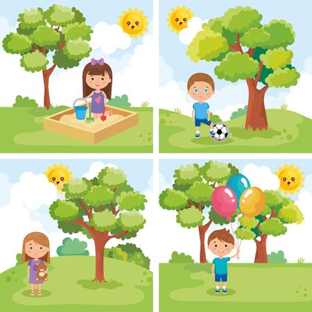 little kids group playing on the park vector illustration design Vector Illustratie