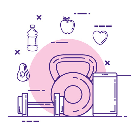 smartphone with fitness and healthy lifestyle icons vector illustration Ilustrace